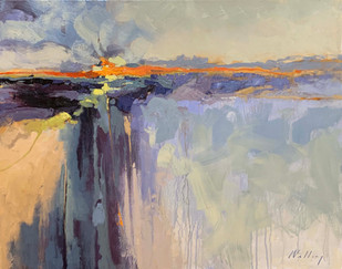 """""""Coastal Sunset"""" Oil on Canvas 24"""" x 30"""""""