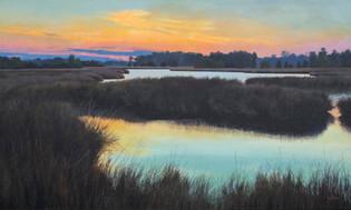 """Dusk on the Marsh"" #21135 Acrylic on Linen 30"" x 50"""