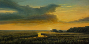 """""""Daybreak Over the Low Country"""" #00719 Oil on Linen Board 8"""" x 16"""""""