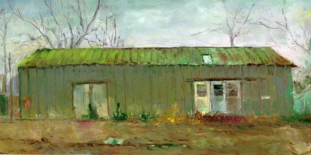 """""""Grey Barn with Green Roof"""" PS-2018-137 Oil on Panel 6"""" x 12"""""""