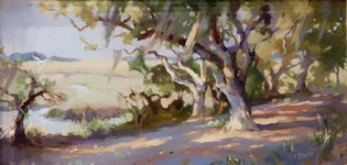 """""""Under the Oaks"""" Oil on Canvas 12"""" x 24"""""""