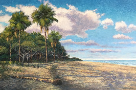 """Bright Blue Morning"" Oil on Canvas 24"" x 36"""