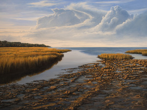 """""""Edge of the Marsh At Low Tide"""" Oil on Gessoboard 18"""" x 24"""""""