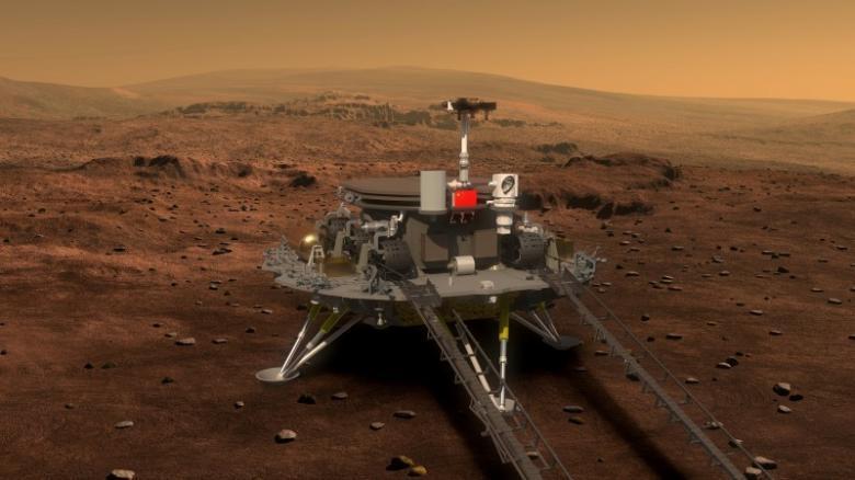 Concept portrayal of China's Mars rover and lander