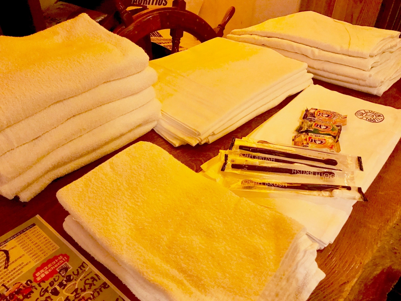 充実なアメニティ バスタオルやハンドタオル、歯ブラシ