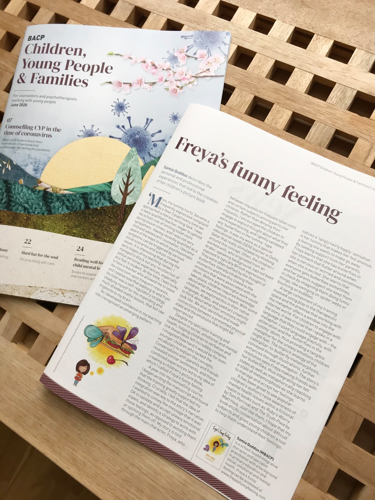 Freya's Funny Feeling featured in the BACP CYP magazine, June 2020