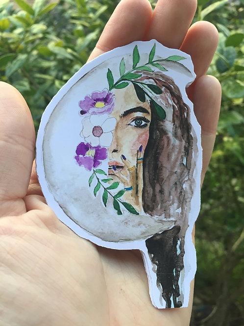Moon Flower Sticker