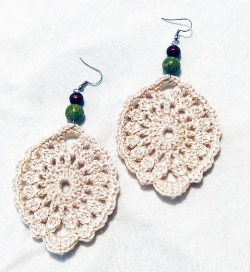 Cream Crochet Earrings