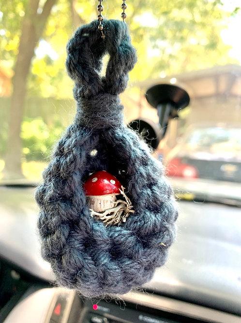 Crochet Mushroom Car Charm