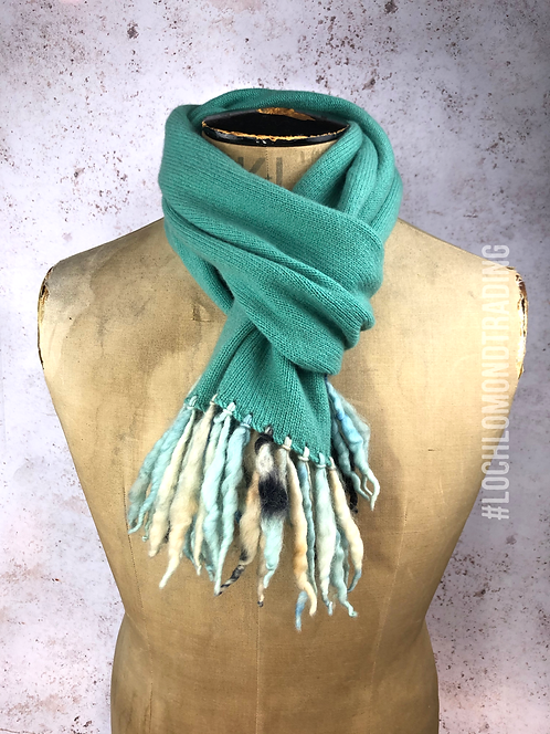 Rich Turquoise Scarf with twisted wool tassels