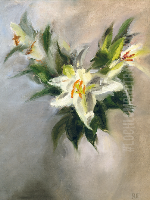 Glorious White Lilies Greetings Card