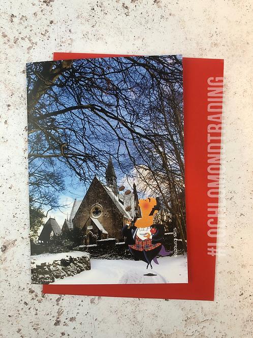 Christmas Card Luss Espresso outside Luss Parish Church