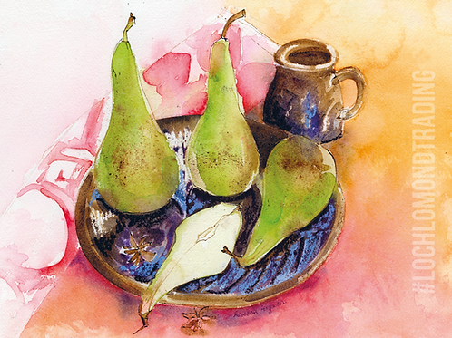Pears, Plate and T-Towel Greetings Card