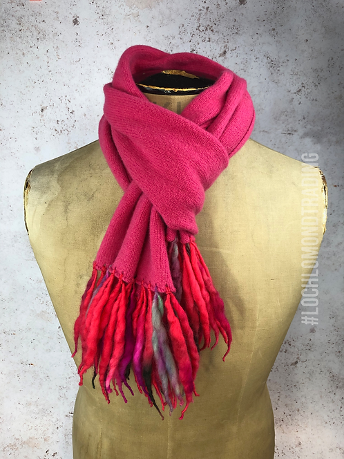 Glorious Pink Scarf with twisted wool tassels