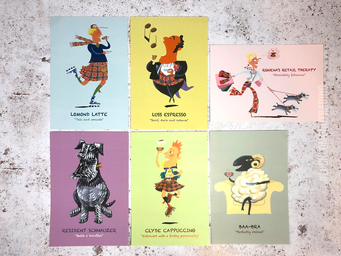 Set of 6 Coach House Coffee Shop Character Postcards