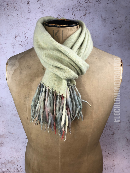 Soft Green Scarf with twisted wool tassels