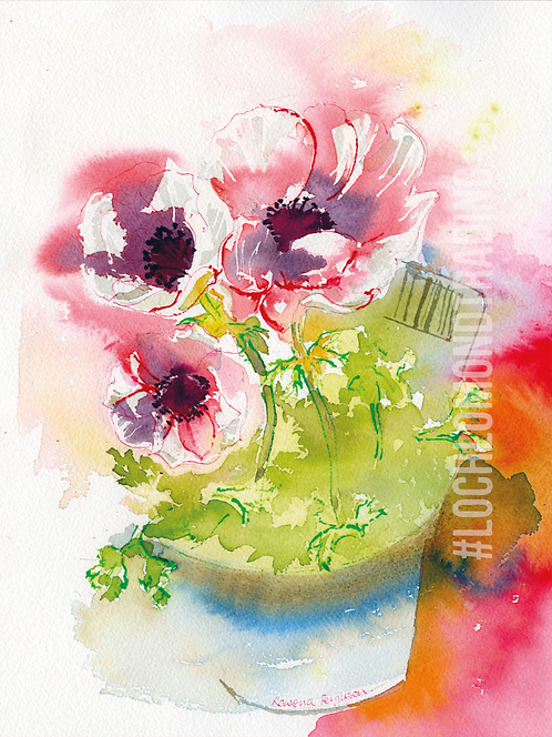 Anemone Original Card from a watercolour by Rowena