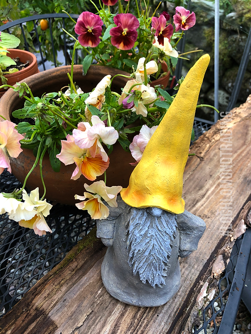 Bjorn the Outdoor Gnome with Yellow Hat Standing Tall