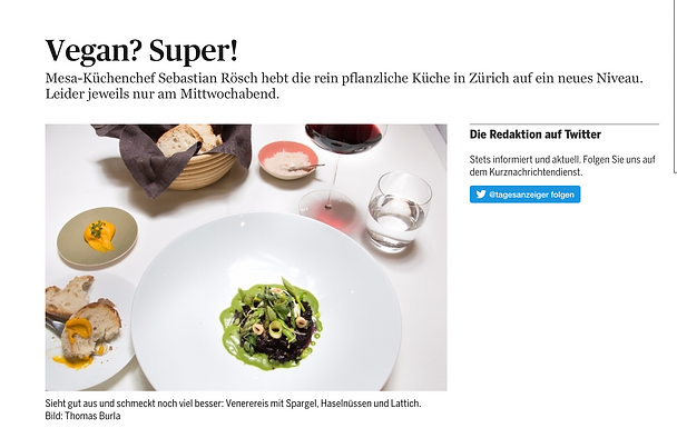 Vegan? Super! / Tagesanzeiger - Züritipp: Gastro