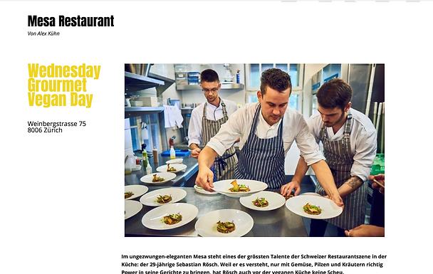 Mesa Restaurant - Wednesday Gourmet Vegan Day / wellville.eue