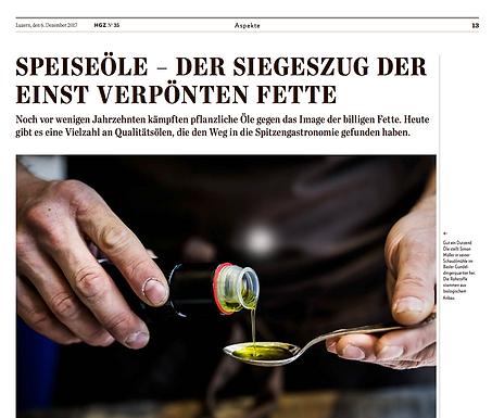 Speiseöle - Der Siegeszug der einst verpönten Fette / Hotellerie Gastronomie Zeitung Nr.35
