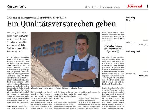Ein Qualitätsversprechen geben / Gastrojournal.ch