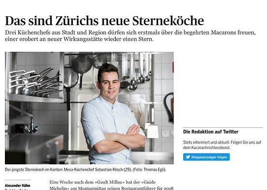 Das sind Zürichs neue Sterneköche / Tagesanzeiger - Züritipp: Gastro
