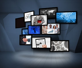 Many screens showing business images und