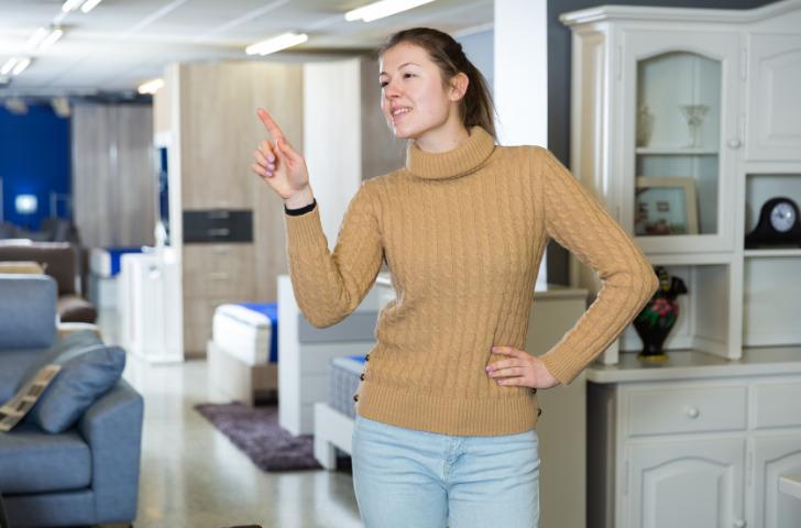 Woman selecting furniture