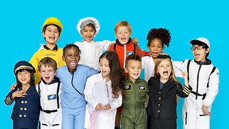 Group of Diverse Kids Wearing Career Cos