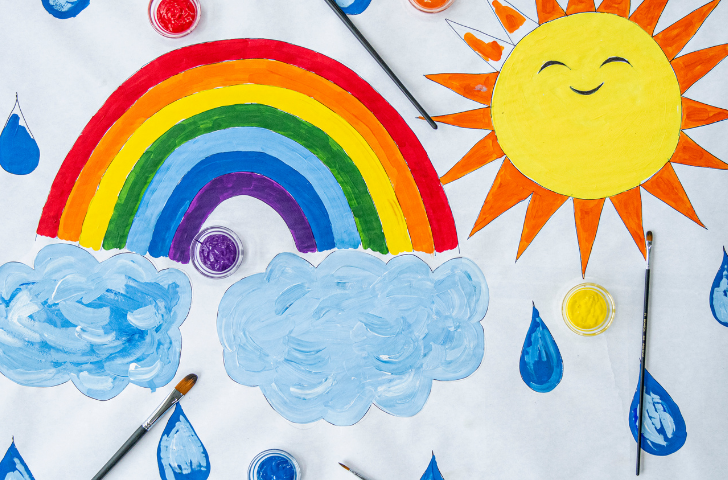 Colorful illustration of a rainbow with the sun and the clouds
