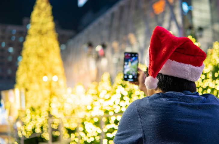 Taking a photo of a Christmas tree