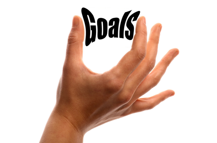 A hand with the word Goals between the fingers
