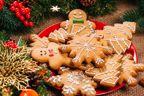 Assortment of decorated Gingerbread cookies on a red plate