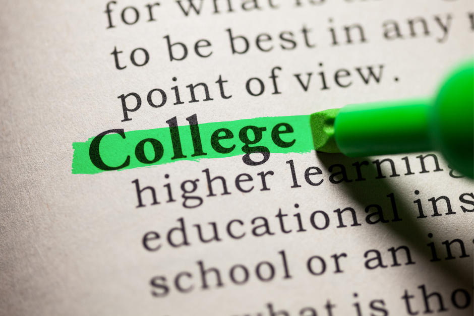 The word College being highlighted in green