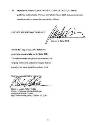 Dr. Spitz Affidavit - page 5.