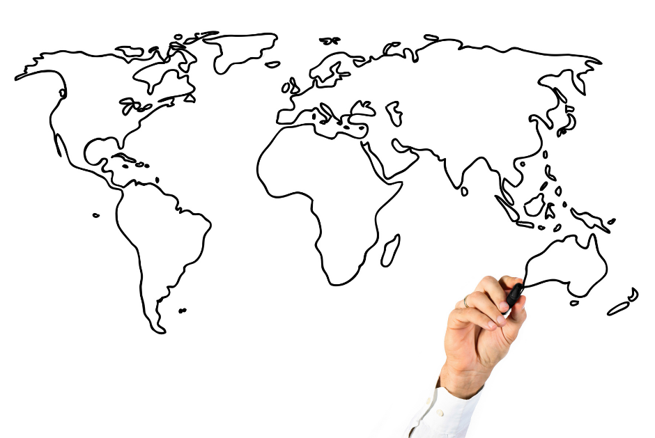 Male hand drawing flat map of earth with marker