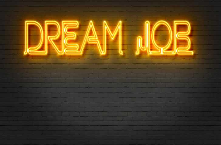 Glow sign that reads Dream Job