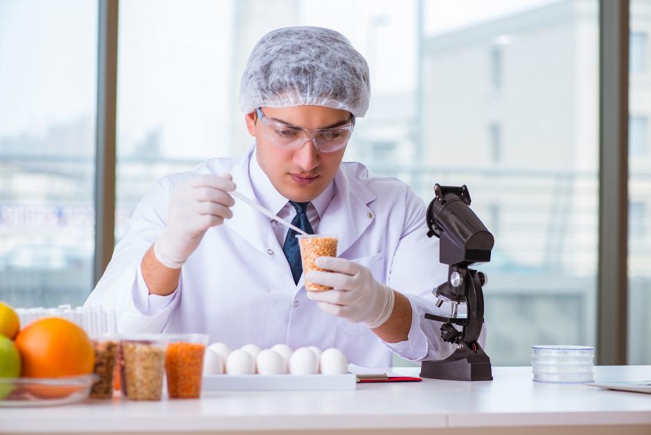 Male Food Scientist testing food samples