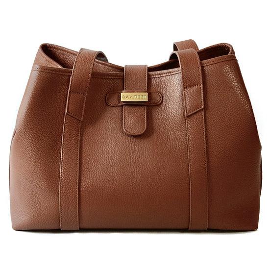 Women's SAVVYROOT Luxury Leather Cognac Charleston2 Tote
