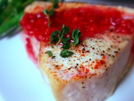 Baked Swordfish with Rasberry Sauce
