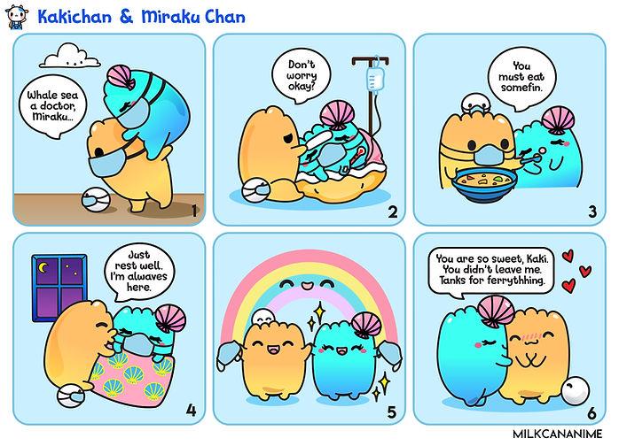Kakichan takes good care of Miraku when she is sick