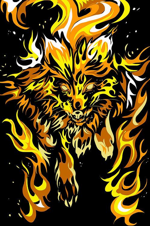 "Flaming Fox Print--24x36"""
