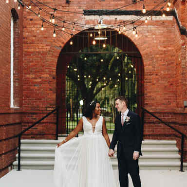 Bride and Groom under the market lights