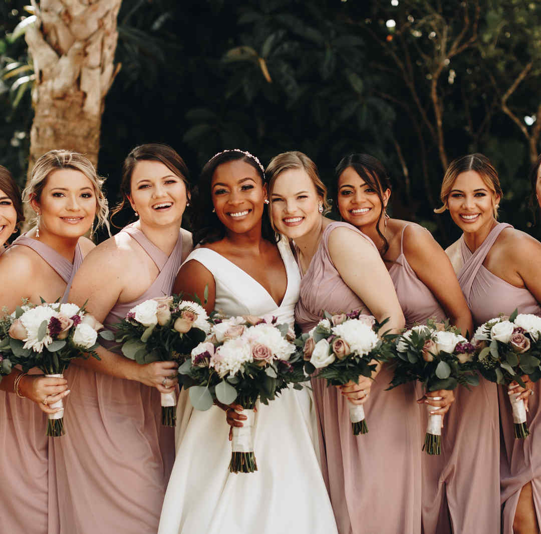 Bridal Party in Wedding Garden