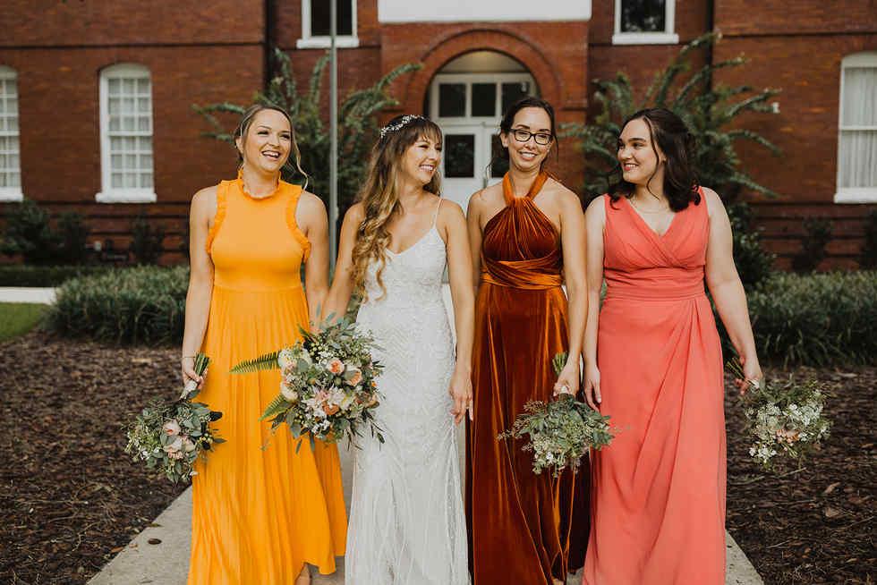 Bridal Party In fun Citrus Color