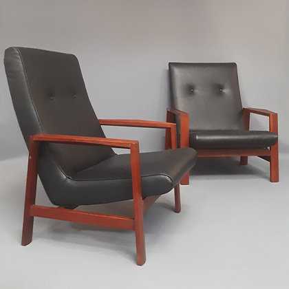Paire de fauteuils cuir attribués à Michel Mortier