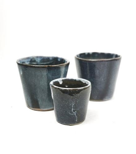 Glazed blue pot