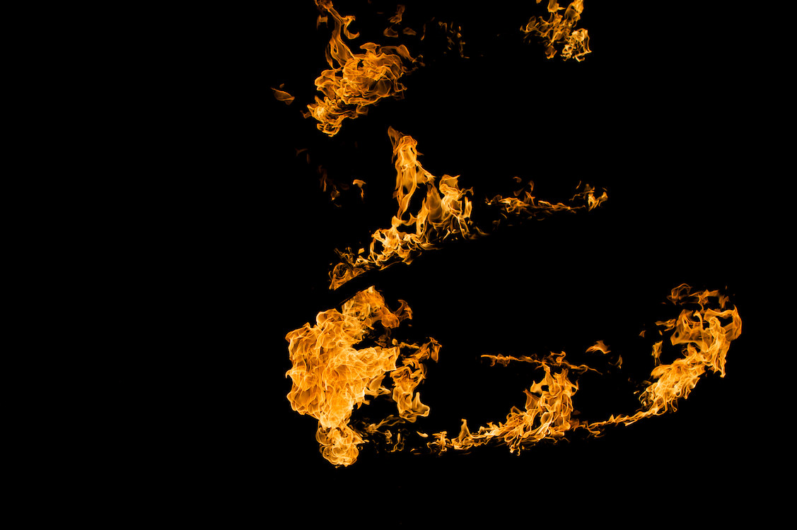 Spiralling flames