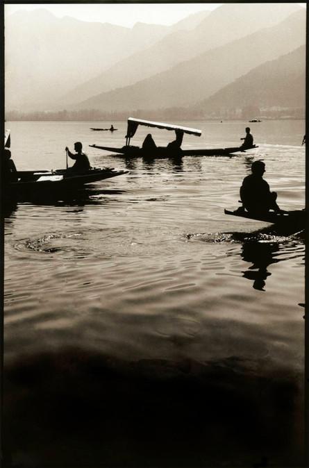 Three boats on lake